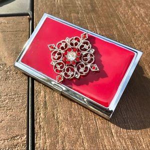 Accessories - HP🎉 Red Enamel Brooch Metal Credit Card ID Holder